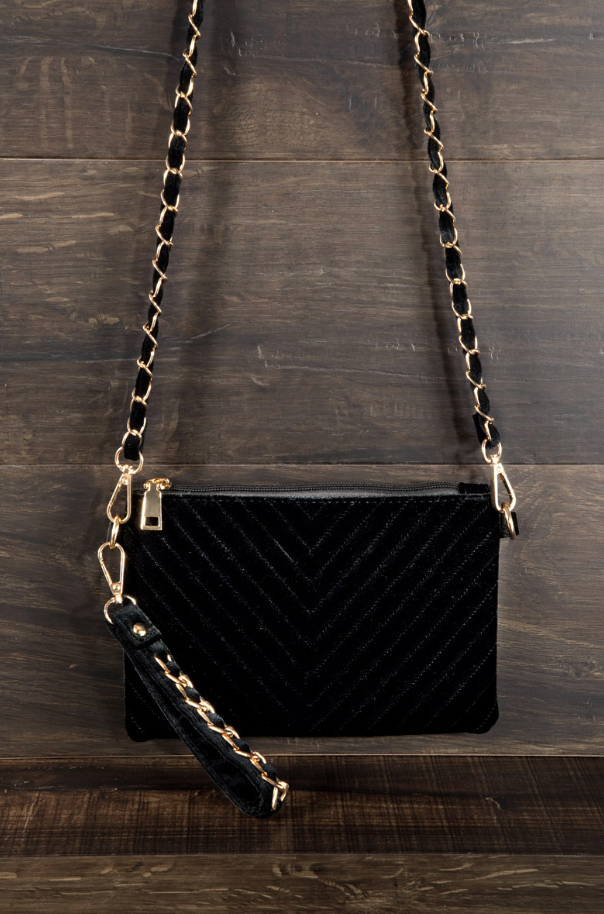"'Gabriella"" Velvet Chevron Quilted Crossbody Bag"
