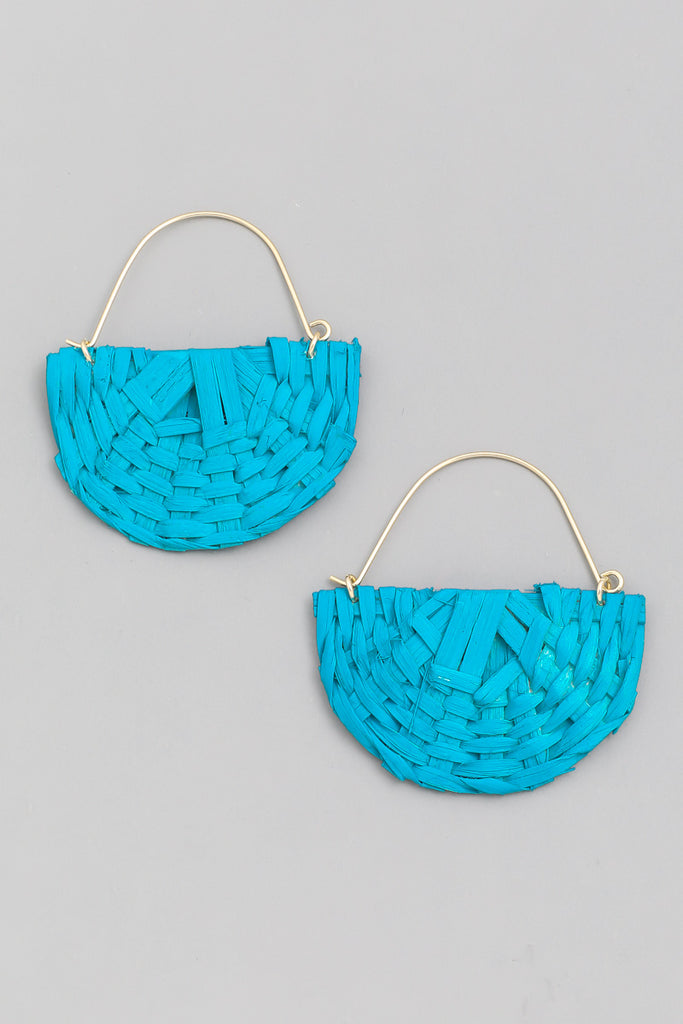 'Chloe' Straw Braid Semicircle Earrings