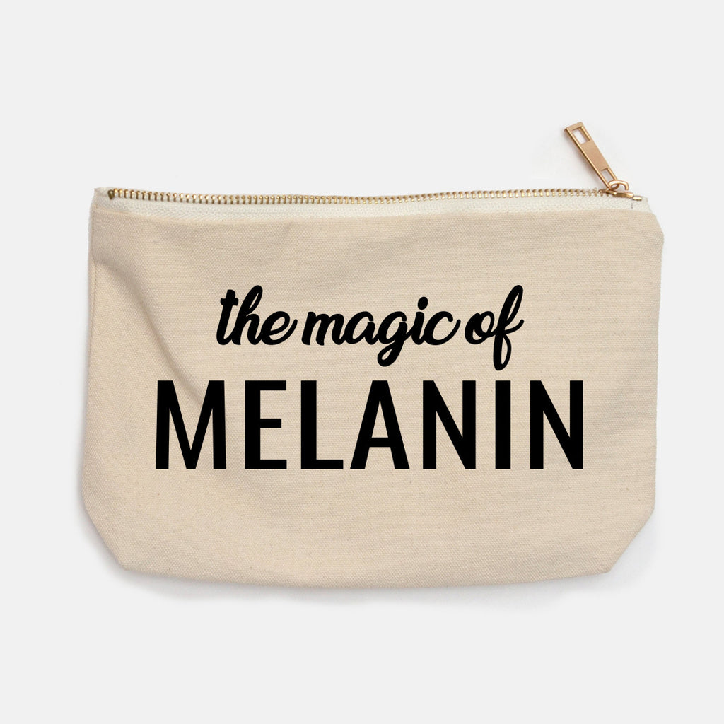 """The Magic Of Melanin"" Canvas Makeup Bag"