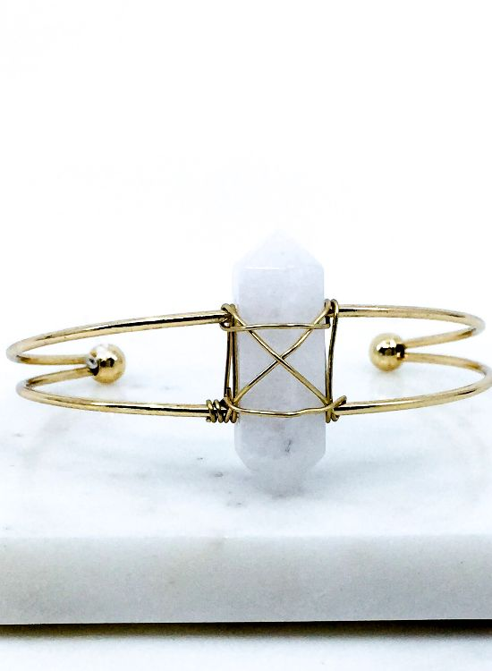 'Faith' Wire Wrapped Agate Stone Brass Cuff