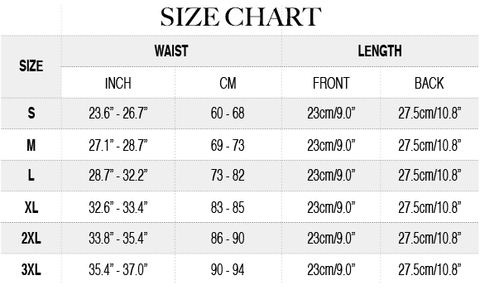 Neoprene Slim Sweat Waist Belt Size Chart | Hourglass Gal