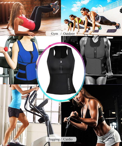 Neoprene Waist Trainer Zip Up Sweat Vest Gym Use | Hourglass Gal