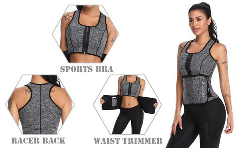 Neoprene Waist Trainer Zip Up Sweat Vest Features | Hourglass Gal