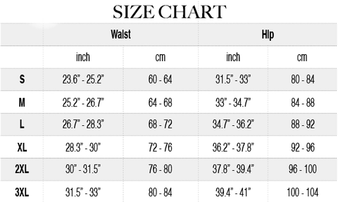 Tummy Control Thigh Compress Panty Size Chart | Hourglass Gal