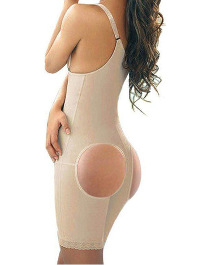 Full Body Shaper With Open-Rear-Butt-Lift Beige body shaper M / Beige Hourglass Gal