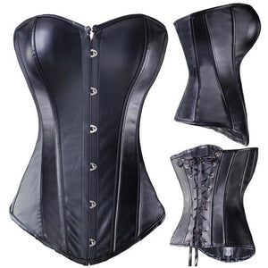 Black / S Black Steel Boned Corset Hourglass Gal