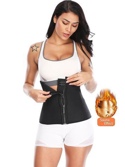 Latex Waist Trainer Zip-up waist trainer M / Black Hourglass Gal