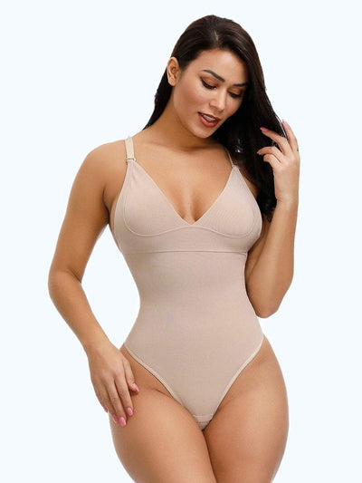 Low Back Thong Bodysuit Shapewear bodysuit shaper M / Beige Hourglass Gal