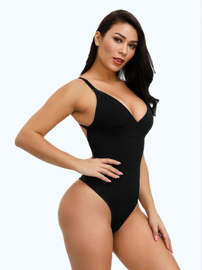 Low Back Thong Bodysuit Shapewear bodysuit shaper S / Black Hourglass Gal