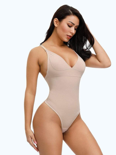 Low Back Thong Bodysuit Shapewear bodysuit shaper XL / Beige Hourglass Gal
