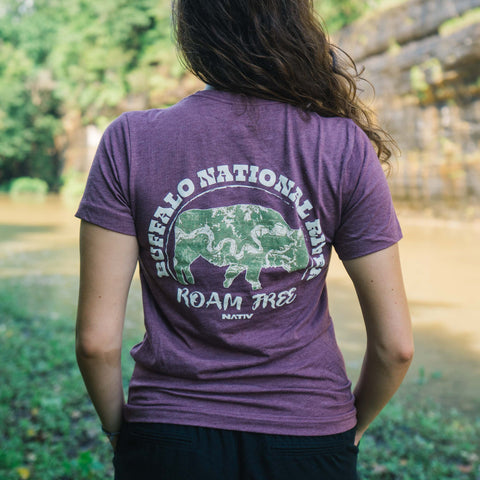 Nativ Buffalo River Roam Free Maroon Tee
