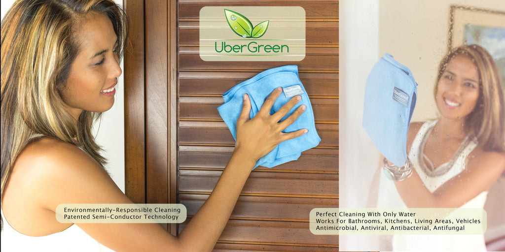Ubergreen General Purpose Blue Microfiber Cloth With Silver - Ubergreen Microfiber