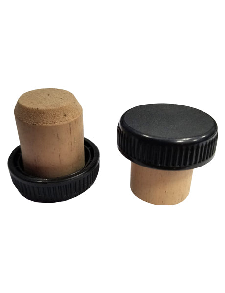 29 MM - CORK BAR TOPPER - BLACK RIBBED PLASTIC (C29MM-CORKBT-BLKRB)