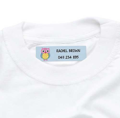 Iron On Labels 44pk - Colourful Owl