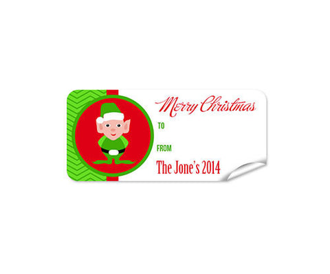 Green Elf 27pk Labels Christmas