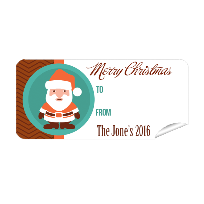 Orange Santa 27pk Labels Christmas
