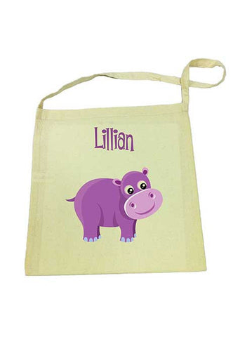 Library Bag - Purple Hippo