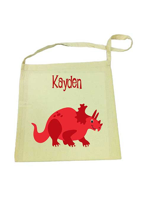 Library Bag - Red Dinosaur