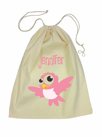 Drawstring Bag - Pink Bird