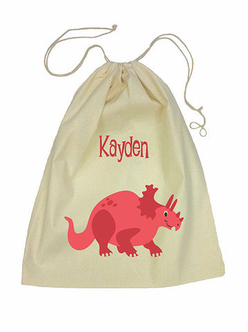 Calico Drawstring Bag - Red Dinosaur