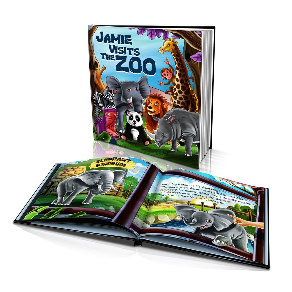 Large Hard Cover Story Book - Visits the Zoo
