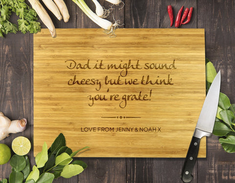 Dad You're Grate Bamboo Cutting Board 8x11