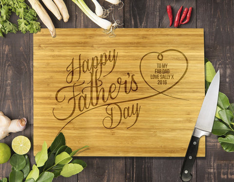 Happy Father's Day Bamboo Cutting Board 12x16