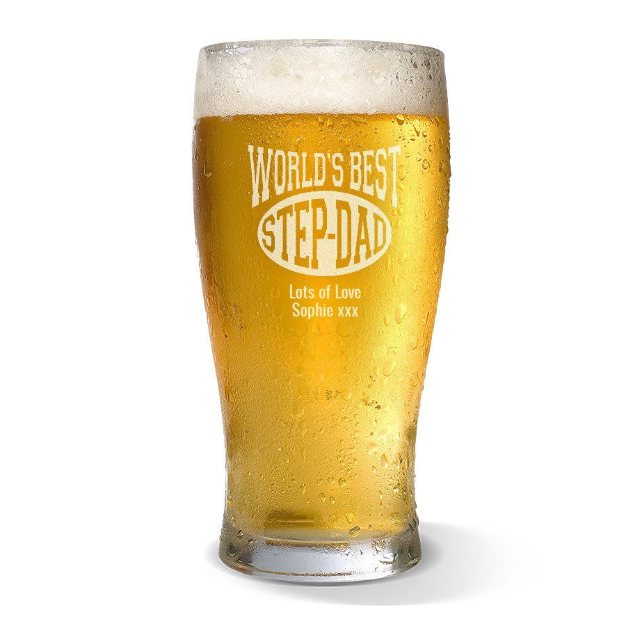 World's Best Step-Dad Standard 285ml Beer Glass