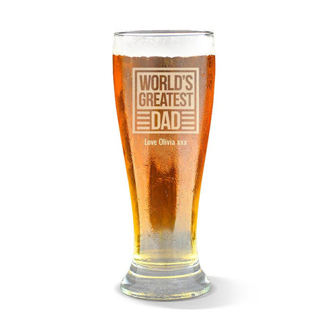 World's Greatest Dad Premium 425ml Beer Glass