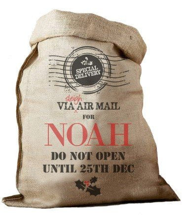 Air Mail Hessian Santa Sack