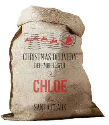 Christmas Delivery Hessian Santa Sack