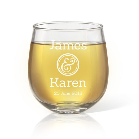 Couples Stemless Wine Glass - Temporary Out Of Stock
