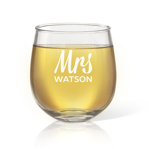 Mrs Design Stemless Wine Glass - Temporary Out Of Stock