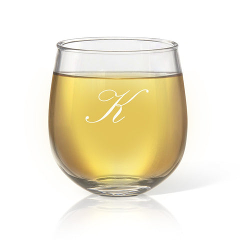 Single Initial Stemless Wine Glass - Temporary Out Of Stock