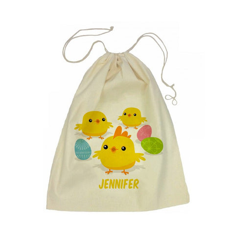 Calico Drawstring Bag - Easter Chicks