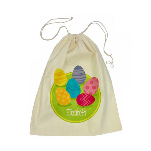 Easter Eggs Calico Drawstring Bag