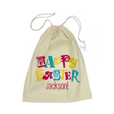 Calico Drawstring Bag - Happy Easter