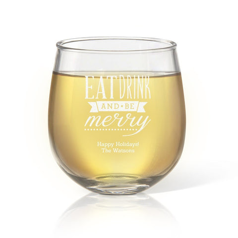 Be Merry Stemless Wine Glass - Temporary Out Of Stock
