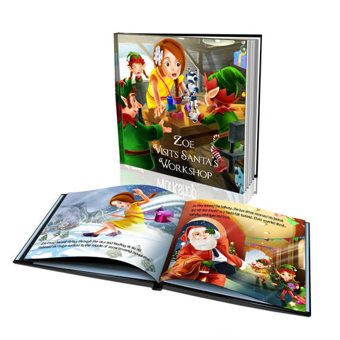 Visits Santa's Workshop Large Hard Cover Story Book