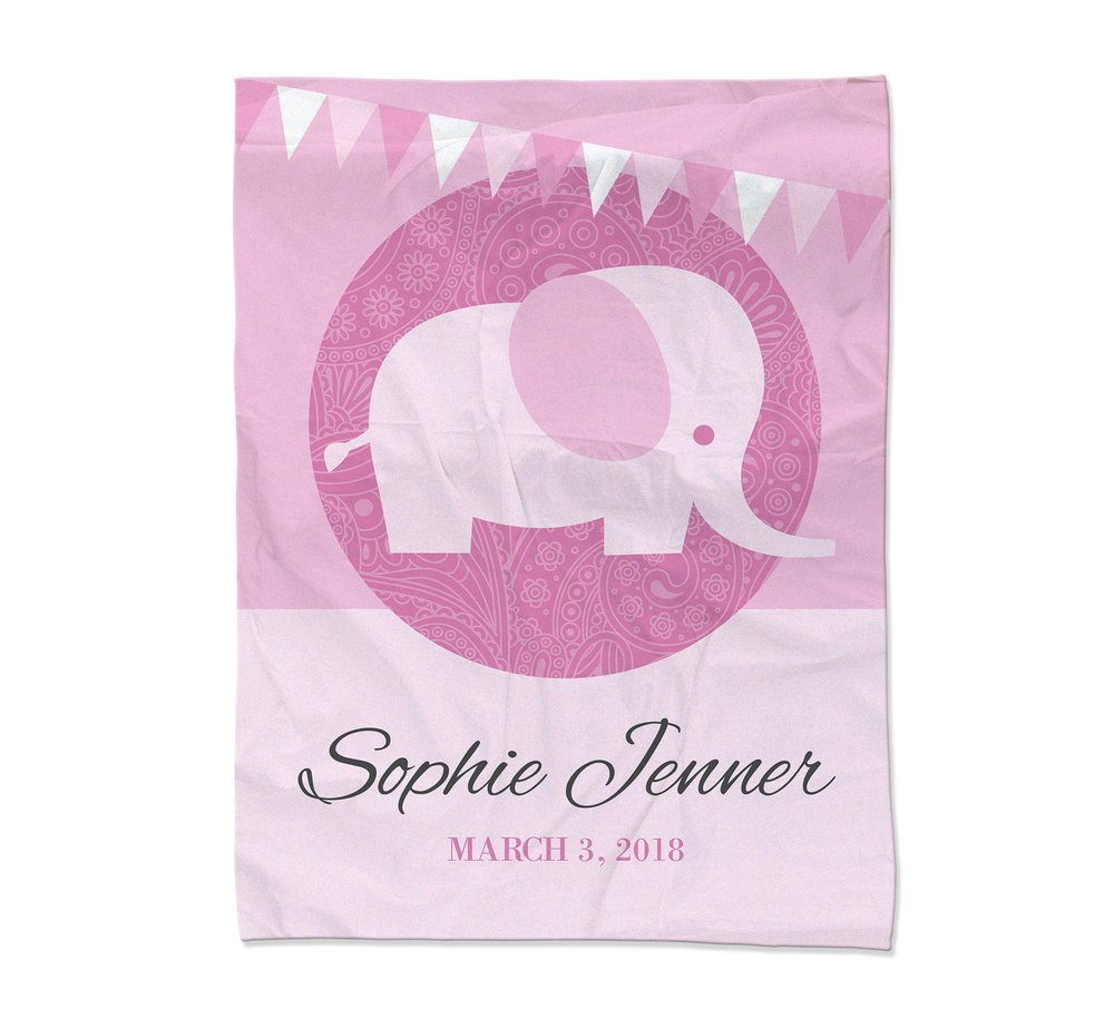 Pink Elephant Blanket - Small