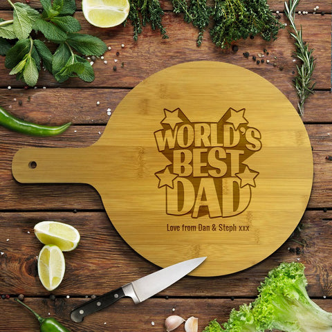 World's Best Dad Round Bamboo Serving Board