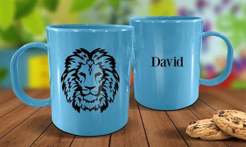 Lion Plastic Mug - Blue