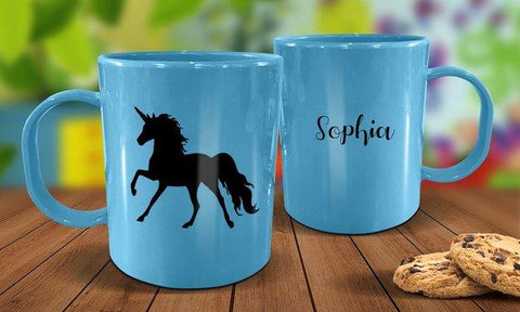 Unicorn Plastic Mug - Blue