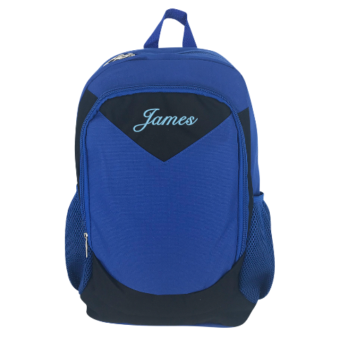 Blue Embroidered Backpack - Large