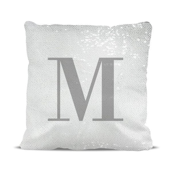 Initial Reversible Sequin Cushion Cover