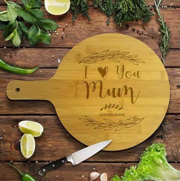 Love You Round Bamboo Serving Board