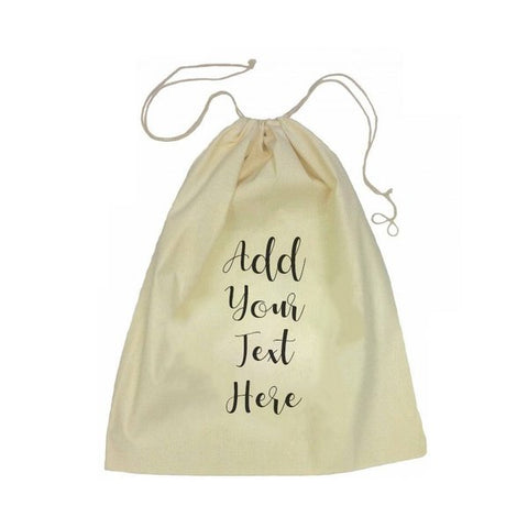 Calico Drawstring Bag - Add Your Own Message