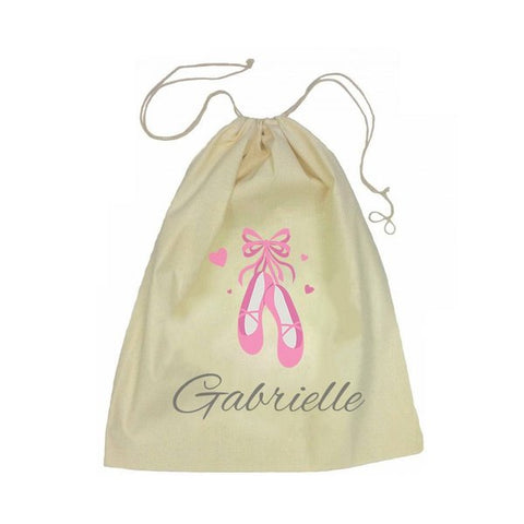Calico Drawstring Bag - Ballet Shoes