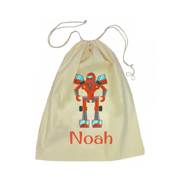 Calico Drawstring Bag - Robot