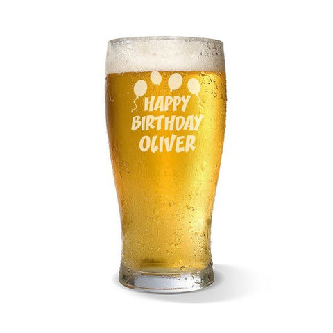 Happy Birthday Standard 285ml Beer Glass
